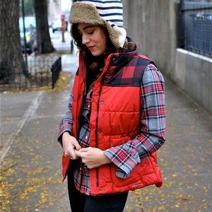 Eddie Bauer Red Buffalo Check Puffer Vest